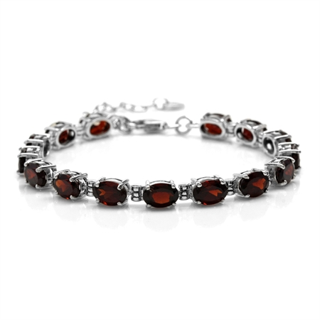 "13.5ct. Natural Garnet 925 Sterling Silver 6-7.5"" Adjustable Tennis Bracelet"