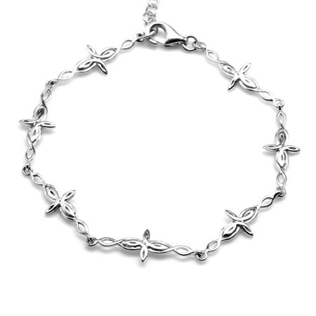 925 Sterling Silver Intertwined Cross 7.5-9 Inch Adjustable Bracelet