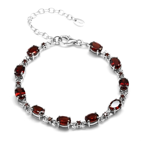 10.4ct. Natural Garnet White Gold Plated 925 Sterling Silver 6.5-8.5 Inch Adjustable Bracelet