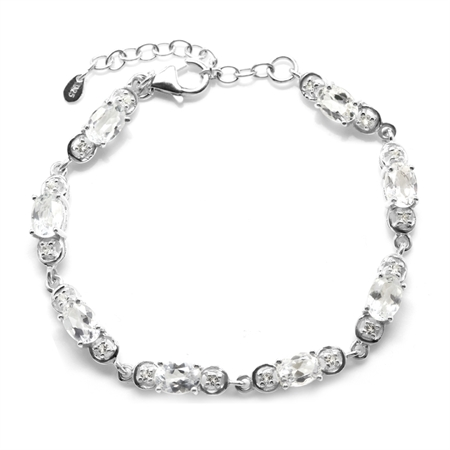 8.56ct. Genuine White Topaz Gold Plated 925 Sterling Silver 6.5-8 Inch Adjustable Bracelet