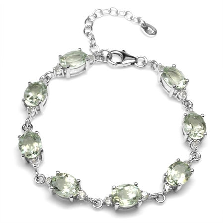 13.12ct. Natural Green Amethyst & White Topaz 925 Sterling Silver 6.75-8.25 Inch Adjustable Bracelet