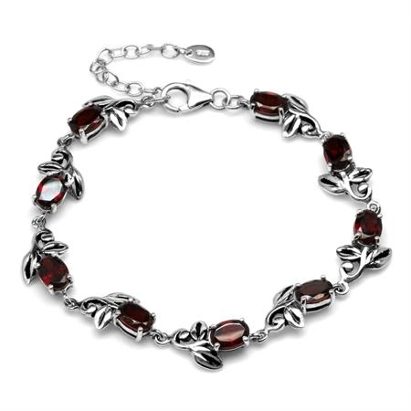 9.27ct. Natural Garnet 925 Sterling Silver Leaf Vintage Inspired 7-8.5 Inch Adjustable Bracelet