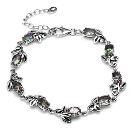 8.1ct. Mystic Fire Topaz 925 Sterling Silver Leaf Vintage Inspired 7-8.5 Inch Adjustable Bracelet