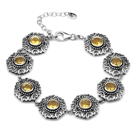 6.08ct. Natural Round Citrine 925 Sterling Silver Filigree Balinese Style 7-8.5 Inch Adj. Bracelet
