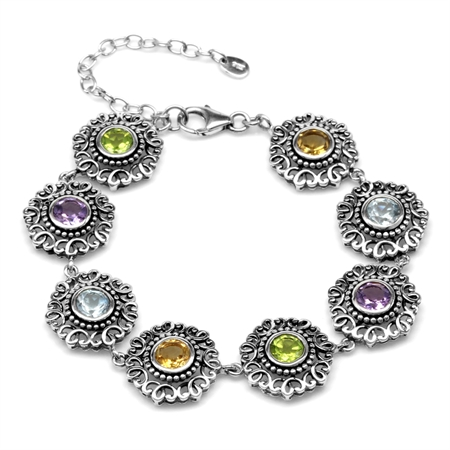 "Natural Round Shape Multi Colored 925 Sterling Silver Filigree Balinese Style 7-8.5"" Adj. Bracelet"