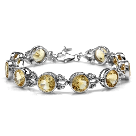 16.9ct. 8MM Natural Round Shape Citrine 925 Sterling Silver Filigree 6.5-8 Inch Adjustable Bracelet