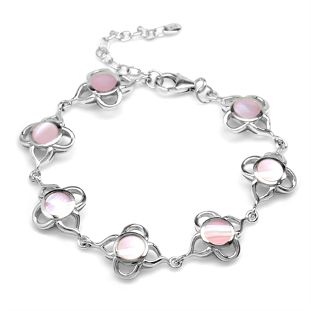 6MM Pink Mother Of Pearl Inlay White Gold Plated 925 Sterling Silver Flower 6.5-8 Inch Adj. Bracelet