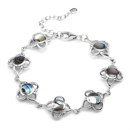 6MM Abalone/Paua Shell Inlay White Gold Plated 925 Sterling Silver Flower 6.5-8 Inch Adj. Bracelet