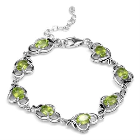 7.04ct. Natural Peridot 925 Sterling Silver Leaf Vintage Inspired 6.5-8 Inch Adjustable Bracelet