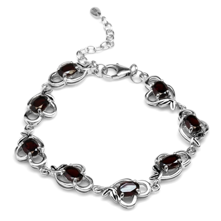 8ct. Natural Garnet 925 Sterling Silver Leaf Vintage Inspired 6.5-8 Inch Adjustable Bracelet
