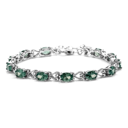 "Simulated Color Change Alexandrite 925 Sterling Silver Victorian Heart Style 7-8.5"" Adj. Bracelet"