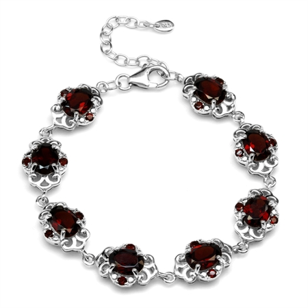 13.2ct. Natural Garnet White Gold Plated 925 Sterling Silver Filigree 6.5-8 Inch Adjustable Bracelet