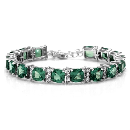 Cushion Simulated Color Change Alexandrite 925 Sterling Silver 6.5-7-8 Inch Adjustable Bracelet