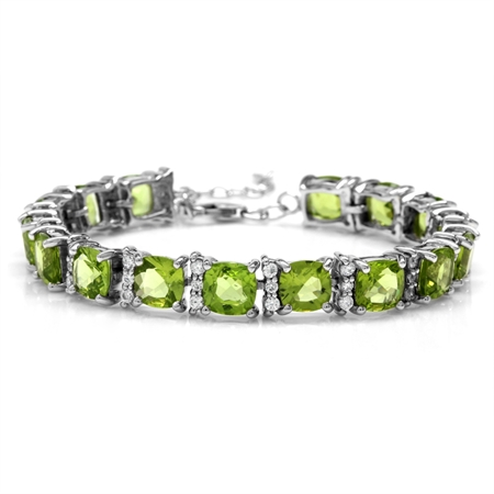"26.08ct. Natural Cushion Shape Peridot White Gold Plated 925 Sterling Silver 6.5-7-8"" Adj. Bracelet"