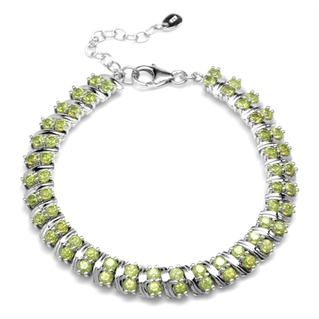 7.2ct. Natural Peridot Double Row White Gold Plated 925 Sterling Silver 6.75-8.25 Inch Adj. Bracelet