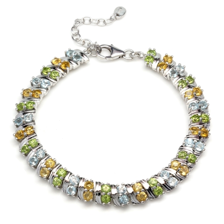 Genuine Peridot, Citrine & Blue Topaz Double Row 925 Sterling Silver 6.75-8.25 Inch Adj. Bracelet