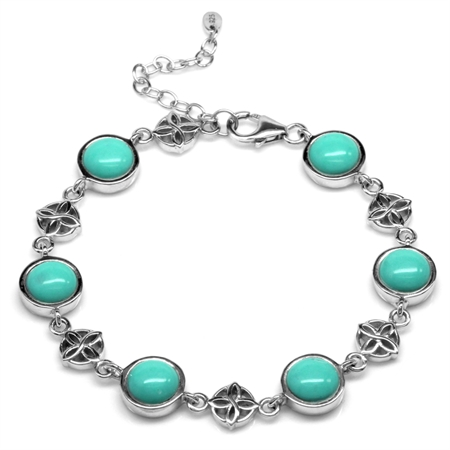 Created Green Turquoise 925 Sterling Silver Flower Celtic Knot 7-8.5 Inch Adjustable Bracelet