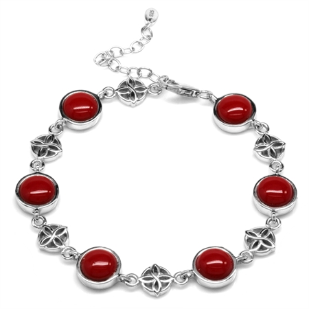 Created Red Coral White Gold Plated 925 Sterling Silver Flower Celtic Knot 7-8.5 Inch Adj. Bracelet