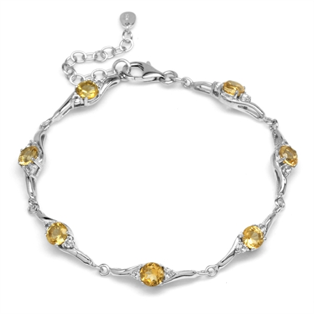 3.22ct. Natural Citrine & White Topaz 925 Sterling Silver 7-8.5 Inch Adjustable Bracelet