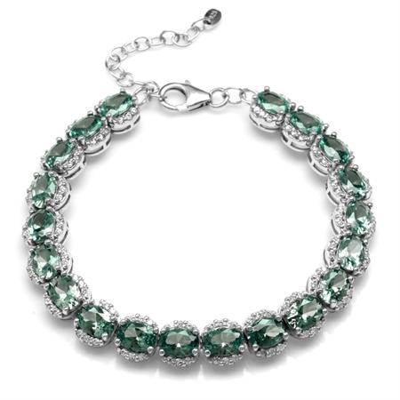 Oval Shape Simulated Color Change Alexandrite 925 Sterling Silver  6.5-7-8 Inch Adjustable Bracelet