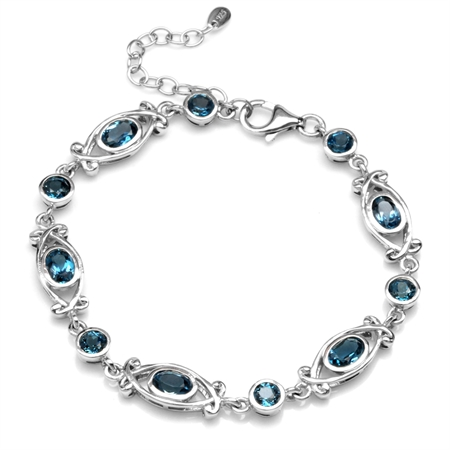 4.67ct. Genuine London Blue Topaz 925 Sterling Silver Victorian Style 6.5-8 Inch Adjustable Bracelet