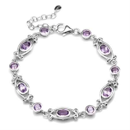 "4.37ct. Natural Amethyst White Gold Plated 925 Sterling Silver Victorian Style 6.5-8"" Adj. Bracelet"