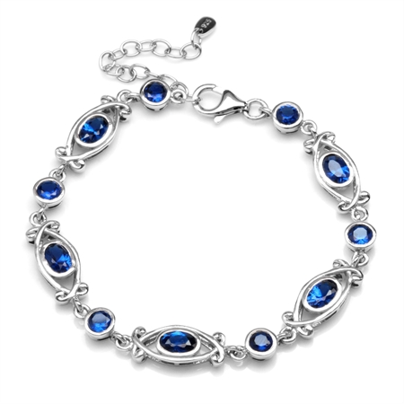 """Synthetic Sapphire Blue White Gold Plated 925 Sterling Silver Victorian Style 6.5-8"""" Adj. Bracelet"""