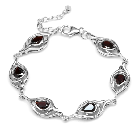 4.98ct. Natural Pear Garnet White Gold Plated 925 Sterling Silver 6.75-7-8.25 Inch Adj. Bracelet