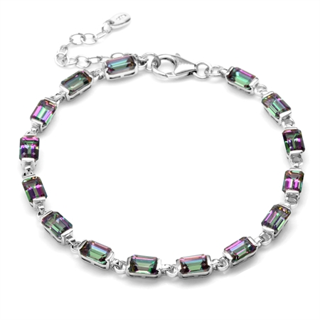 10.2ct. Mystic Fire Topaz White Gold Plated 925 Sterling Silver 7-8.5 Inch Adj. Tennis Bracelet