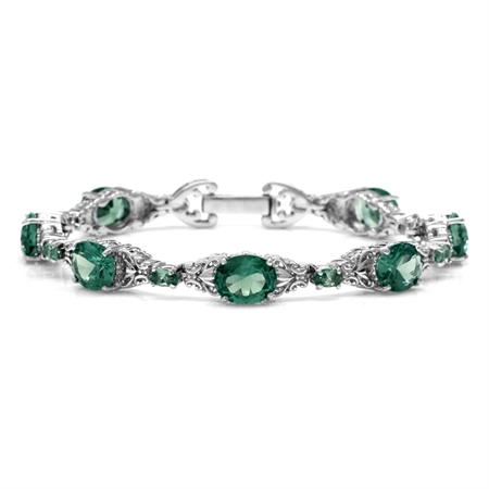 Simulated Color Change Alexandrite 925 Sterling Silver Victorian Style Bracelet 7.75 Inch.