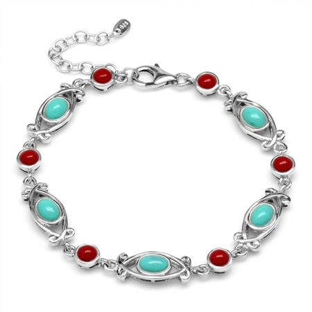 """Created Turquoise&Coral 925 Sterling Silver Victorian Style 6.5-8"""" Adj. Bracelet"""