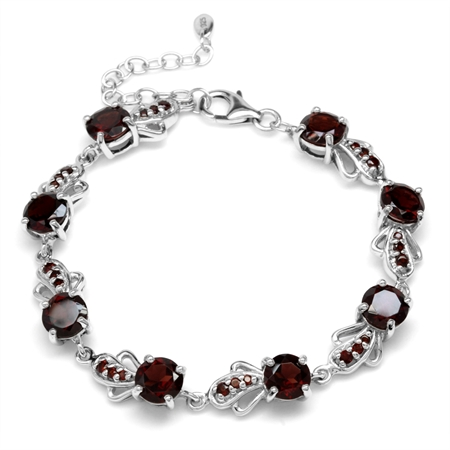 12.8ct. Natural Garnet White Gold Plated 925 Sterling Silver Fashion 6.5-7-8 Inch Adj. Bracelet