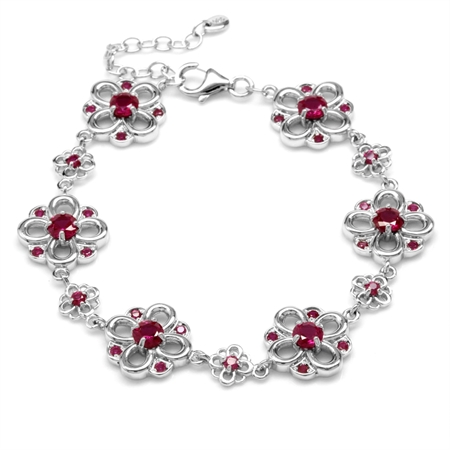 Simulated Red Ruby White Gold Plated 925 Sterling Silver Flower 7-8.5 Inch Adjustable Bracelet