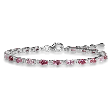 "4.62ct. Natural Pink Tourmaline & White Topaz 925 Sterling Silver 6.5-8"" Adjustable Bracelet"