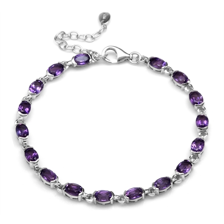 "7.48ct. Natural African Amethyst White Gold Plated 925 Sterling Silver Tennis 7-8.5"" Adj. Bracelet"
