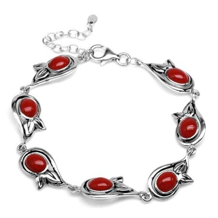 Created Oval Shape Red Coral 925 Sterling Silver Leaf 6.75-8.25 Inch Adjustable Bracelet