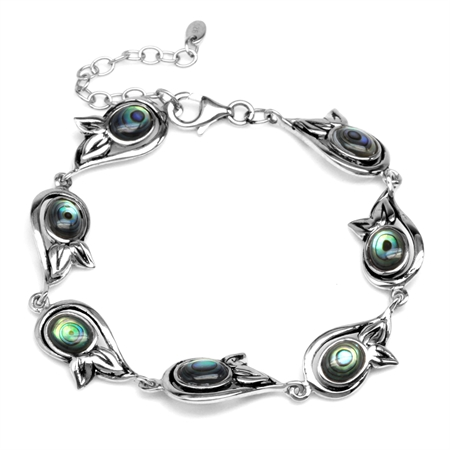 Oval Shape Abalone/Paua Shell 925 Sterling Silver Leaf 6.75-8.25 Inch Adjustable Bracelet