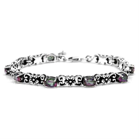 5.04ct. Mystic Fire Topaz 925 Sterling Silver Flower Victorian Style 6.75-7-8.25 Inch Adj. Bracelet