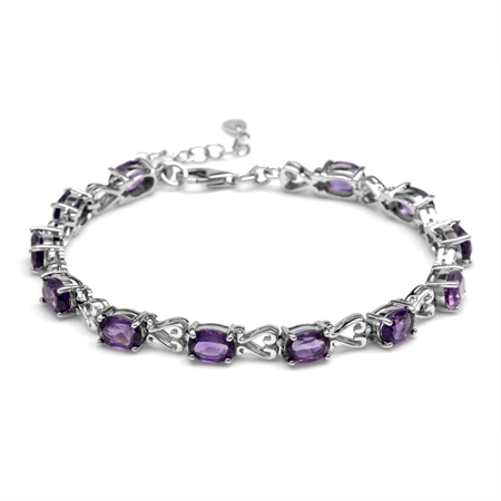 "8.64ct Natural African Amethyst 925 Sterling Silver Victorian Heart Style 7-8.5"" Adjustable Bracelet"