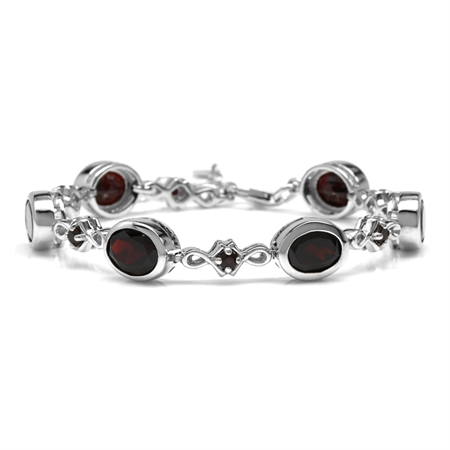 12.78ct. 9x7MM Natural Oval Shape Garnet 925 Sterling Silver 6-7-8 Inch Adjustable Bracelet