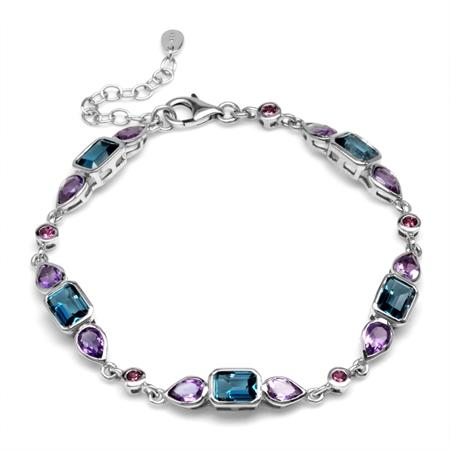 "Genuine London Blue Topaz, Amethyst & Rhodolite Garnet 925 Sterling Silver 7.25-8.75"" Adj. Bracelet"