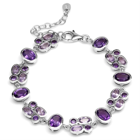 Natural African Amethyst White Gold Plated 925 Sterling Silver Cluster 6-7.5 Inch Adj. Bracelet