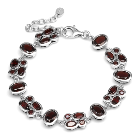 12ct. Natural Garnet White Gold Plated 925 Sterling Silver Cluster 6-7.5 Inch Adjustable Bracelet