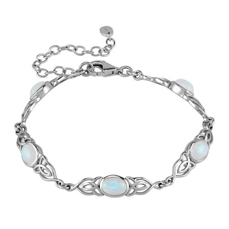 Natural Moonstone 925 Sterling Silver Triquetra Celtic Knot 7.25-8.75 Inch Adjustable Bracelet