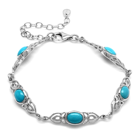 Genuine Arizona Turquoise 925 Sterling Silver Triquetra Celtic Knot 6.5-8.5 Inch Adj. Bracelet
