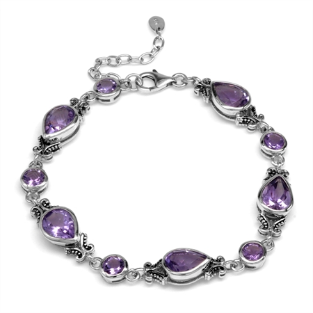 10.2ct. Natural Amethyst 925 Sterling Silver Bali/Balinese Style 7.25-8.75 Inch Adjustable Bracelet