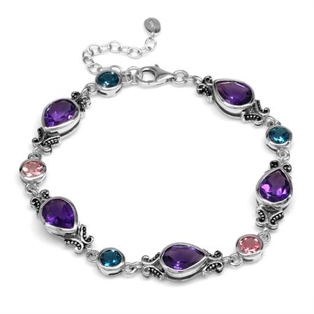 """African Amethyst, Tourmaline&London Blue 925 Sterling Silver Balinese Style 7.25-8.75"""" Adj. Bracelet"""