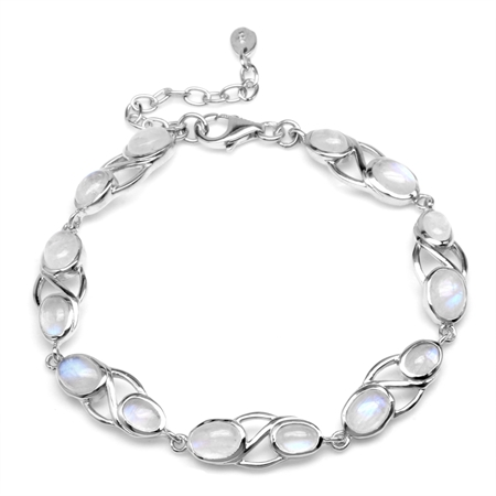 Natural Moonstone White Gold Plated 925 Sterling Silver 6.75-7-8.25 Inch Adjustable Bracelet