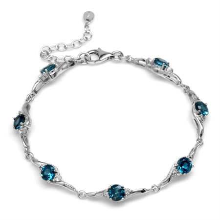 4.2ct. Genuine London Blue Topaz White Gold Plated 925 Sterling Silver 7-8.5 Inch Adj. Bracelet