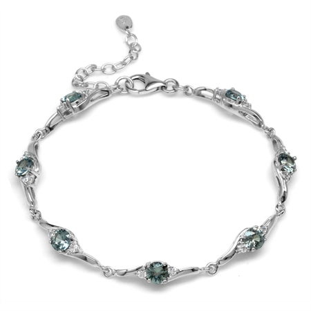 Simulated Color Change Alexandrite White Gold Plated 925 Sterling Silver 7-8.5 Inch Adj. Bracelet